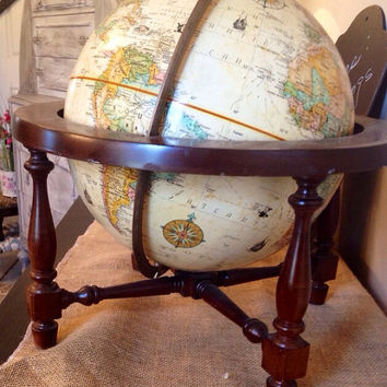 "Vintage 12"" World Classic Globe Replogle in a wood stand"