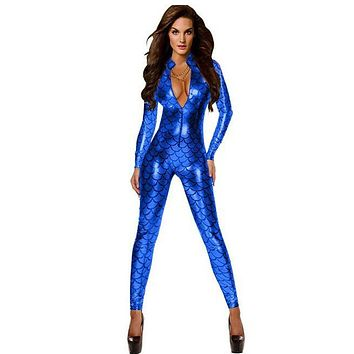 Gold/Silver/Royal/Blue/Rose/Purple/Green Print Mermaid Jumpsuits Sexy Slim One Piece Playsuit Zipper High Neck Combinaison Femme