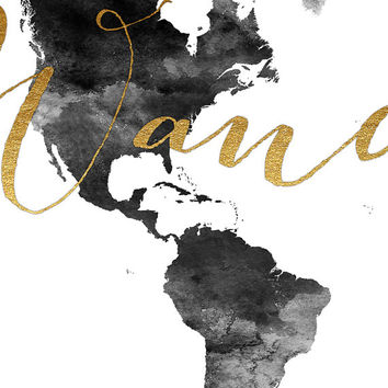 Best gold world map poster products on wanelo wanderlust world map watercolor print world map poster travel map black gumiabroncs Image collections