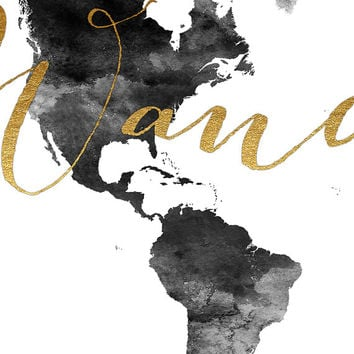 Best Gold World Map Poster Products On Wanelo - Black and gold world map