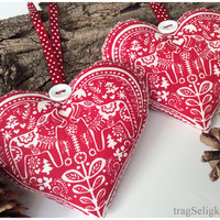Christmas fabric hearts, rustic Christmas decoration, red and white ,nordic pattern, Xmas tree hanger, 2pc, polkadot ribbon, red gingham
