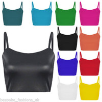 Ladies Women's Cropped Sleeveless Plain Cami Strappy Stretchy Bralet Top 8-14