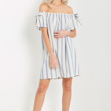 Off White Lena Off the Shoulder Shift Dress