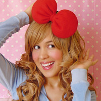 Round Jumbo Minnie Mouse Hair Bow Headband in Red