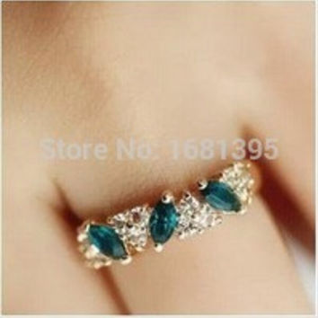 Hot Sales fashion Vintage emerald Crystal ring for Women Jewelry--CRYSTAL SHOP Free shipping