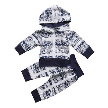 Newborn Infant Baby Boys Girls Clothes Set Long Sleeve Hooded Tops Long Pants Children Clothing Autumn Winter 0-24M Outfits
