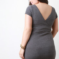 Surplice Back Rib Knit Sweater Dress