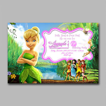 ADF 198 Tinkerbell and Friends Kids Birthday Invitation Party Design