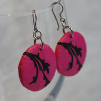 Round Hot Pink Hanji Paper Earrings Dangle Fuschia Black Leaf Design Flower Hypoallergenic hooks Lightweight Ear rings