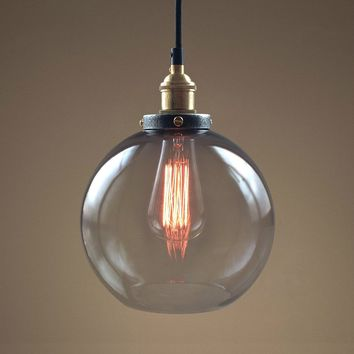 Globe 1 Light Smoke Glass Pendant Light