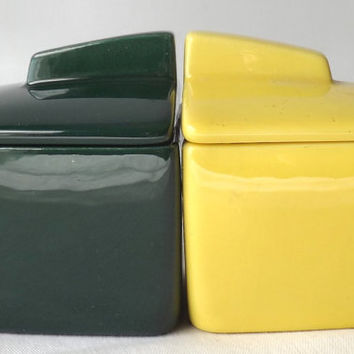 Vintage Franciscan Green and Yellow Toastmaster Jam Jar Set, Mid Century Modern Kitchen Decor