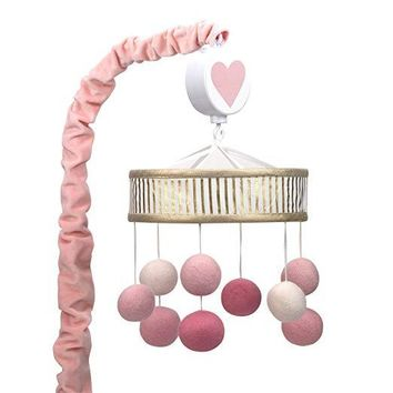 Lambs & Ivy Layla Pink/Gold Pom Pom Baby Crib Musical Mobile