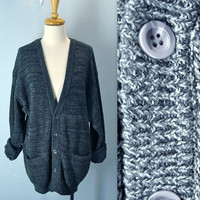 Grandpa Cardigan / Vintage 80s Gray Sweater Cardigan