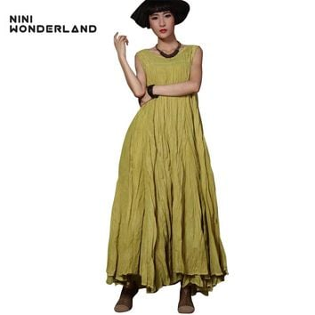 New summer women fashion bohemian beach maxi dress sleeveless big swing irregular long dress for female Vintage Vest dress 85010