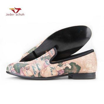 Jeder Schuh handcraft men fabric shoes with globe printing British design men smoking slippers men casual shoes Party men loafer