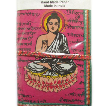 Buddha Meditation Journal Art Pink, Indian Diary, Zen Notebook, Yoga Journal, Indian Sanskrit Design, Pocket Book, Recycled Paper Diary
