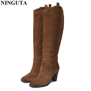 Genuine Leather suede boots women high heel for autumn knee high boots ladies shoes woman 36-42