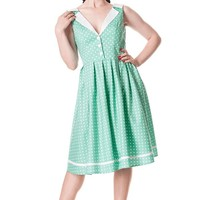 Hell Bunny – Karen Polka Dot Dress In Green/White | Thirteen Vintage