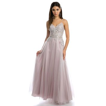 Appliqued Long Prom Dress with Spaghetti Straps Mauve
