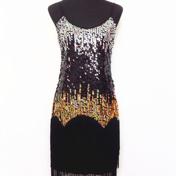 2016 New Latin dance dress costumes women practice dress party wear Sequin sling tassel Rainbow color