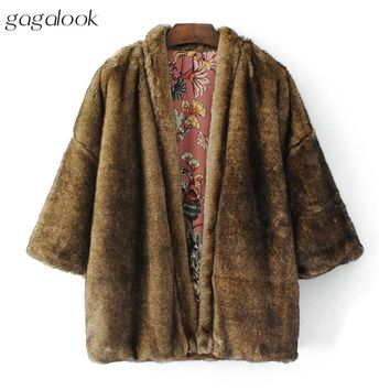 gagalook Teddy Bear Fur Coat Women Winter Warm Reversible 3/4 Sleeve Floral Kimono Jacket Coat 2017 C0132