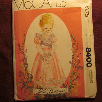 Sale Uncut 1980's McCall's Sewing Pattern, 8400! Little Darling Girl's Dress/Kids/Child/Slips/Juliet Sleeves/Lace Bodice Ruffles/Fasten on B