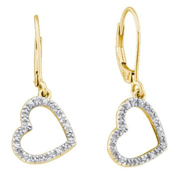 10kt Yellow Gold Women's Round Diamond Heart Love Dangle Earrings 1-20 Cttw - FREE Shipping (USA/CAN)