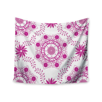 "Anneline Sophia ""Let's Dance Fuschia"" Pink Floral Wall Tapestry"