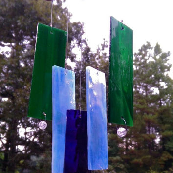 Illume Studio Handmade Stained Glass Wind Chime with Copper Top and Crystal Beads