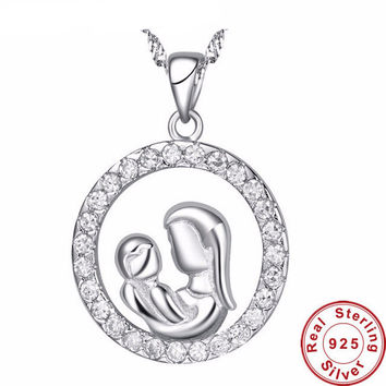 Pure Sterling Silver Mother Holding Baby Pendant Necklace