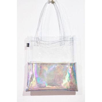 Holographic Tote Half Clear Half Transparent Vinyl Holologram Shoulder School Leather Beach Bag