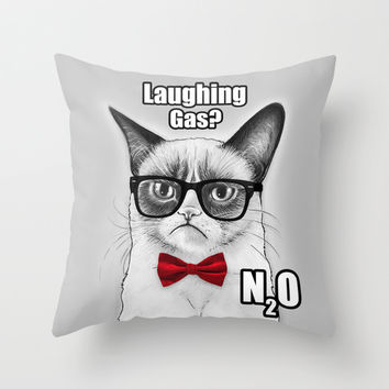 Grumpy Chemistry Cat Throw Pillow by Olechka