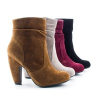 Mozza16 Burgundy By Sully's, Women's High Heel Chunky Heel Ankle Dress Boots