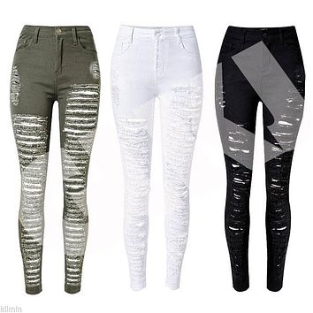 2017 Fashion Women Destroyed Skinny Jeans Women Denim Ripped Distressed Jeans Pants Summer High Waist Pencil Jeans
