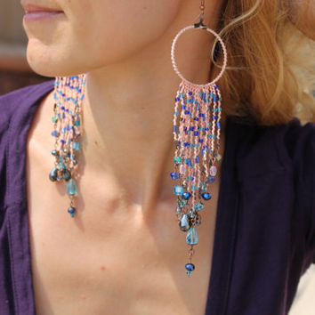 Super Long Earrings / Boho Earrings / Bold Statement Earrings / Chandelier Earrings / Macrame Earrings / Beaded Earrings