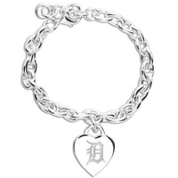 Detroit Tigers Ladies Silver Heart Charm Bracelet