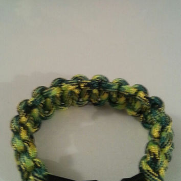 yellow camo paracord parachute cord 550/325 bracelet with survival buckle or reg buckle
