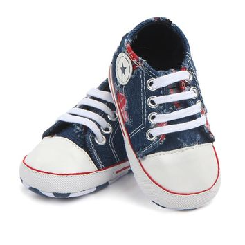 Fashion Blue Jeans Infant Toddler Baby Shoes Girls Boys Booties Kids Sports Sneakers Children Chaussures Bebe Sapatos age 0-18M