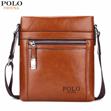 VICUNA POLO High Quality Theftproof Waxy Leather Brand Man Bag With Metal Hasp Small Men's Crossbody Bag Vintage Shoulder Bags