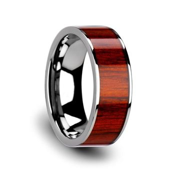 Men's Flat Tungsten Carbide Wedding Ring With Real Padauk Wood Inlay 8mm