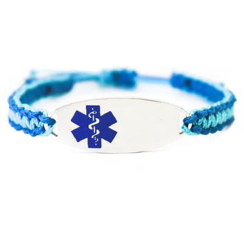 Micro Paracord Bracelet with Engraved Stainless Steel Medical ID Tag - Blue