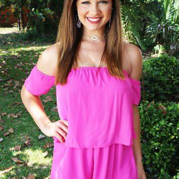 The Other Side Romper In Hot Pink
