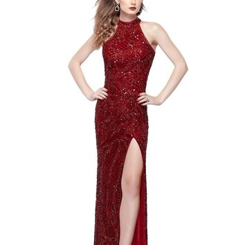Primavera Couture - 3059 Halter Sequined Fancy Back Evening Gown