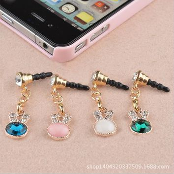 long dust plug cute Rabbit ear lovely phone accessories Crystal Rhinestones earphone plug for cell phone