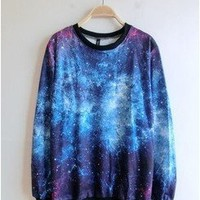 Women`s Galaxy Space Starry Print Girl Long Sleeve Top Round T Shirt Blue&purple: Clothing