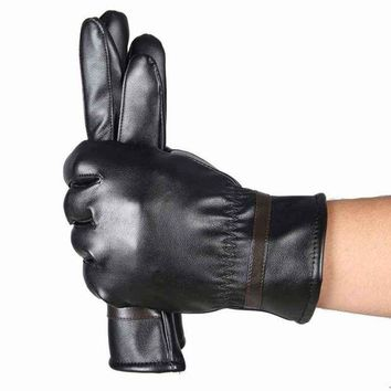 ac DCCKO2Q HOT Sale Winter Mens PU Leather Gloves Black Luvas De Couro Motocycle Punk Rock Warm Luva Motoqueiro #OR