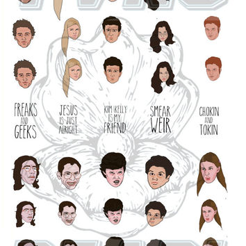 FREAKS AND GEEKS - waterslide nail decals - free shipping U S A - Andy Paerels