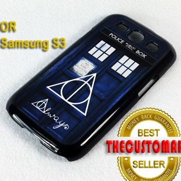 Tardis Police Box Deathly - For Samsung Galaxy S3 Black Case Cover