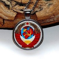 Coat of arms Soviet Union Pendant necklace jewelry keychain Russian Symbol USSR