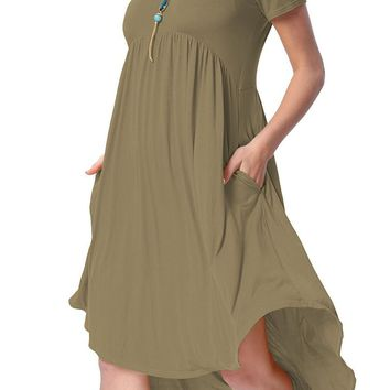 Army Green Short Sleeve High Low Pleated Dress